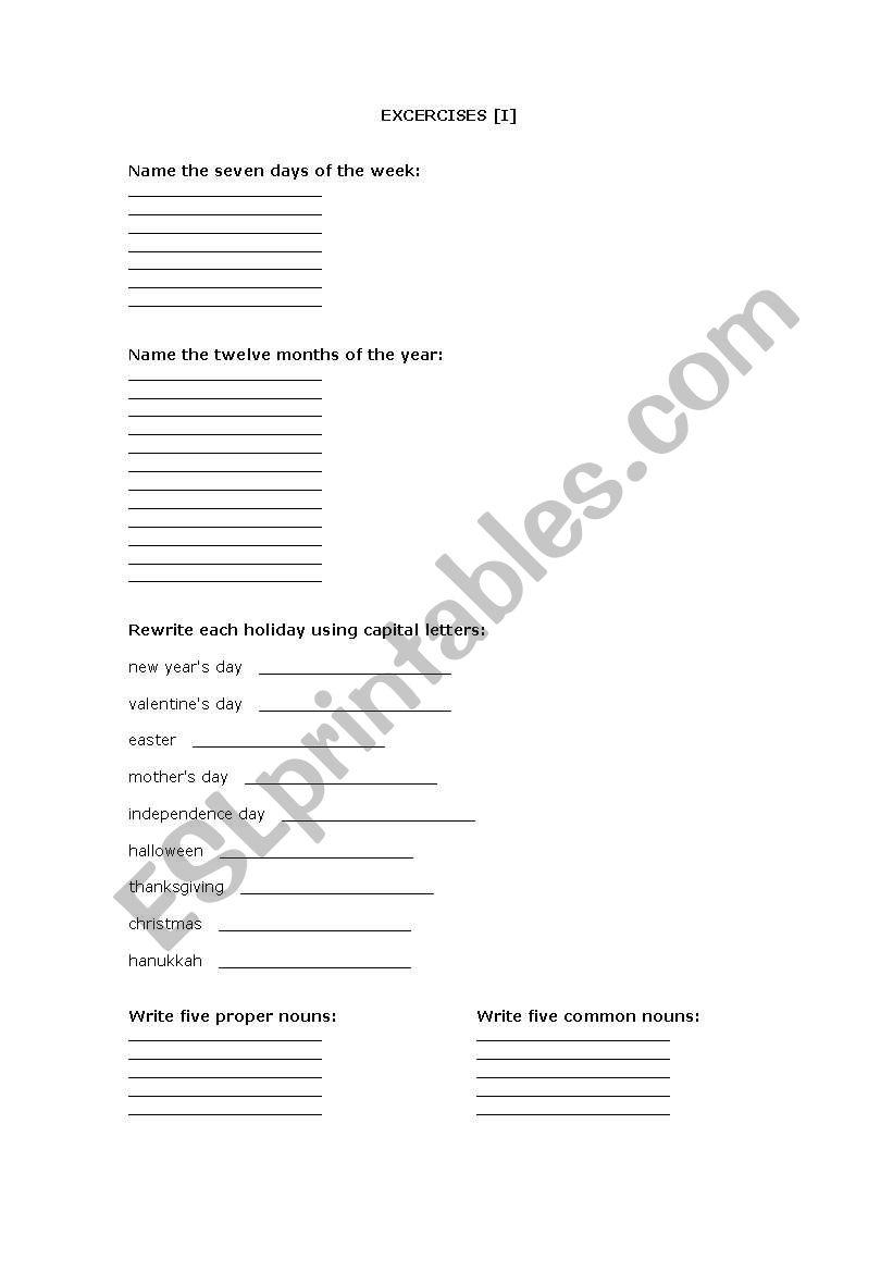 English worksheets: Basic Grammar [I]